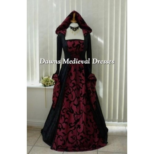 Goth Medieval Pagan Hooded Dress Black & Wine