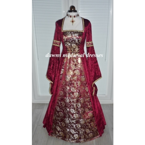 Medieval Pagan Masquerade Burgundy Ball Gown Dress