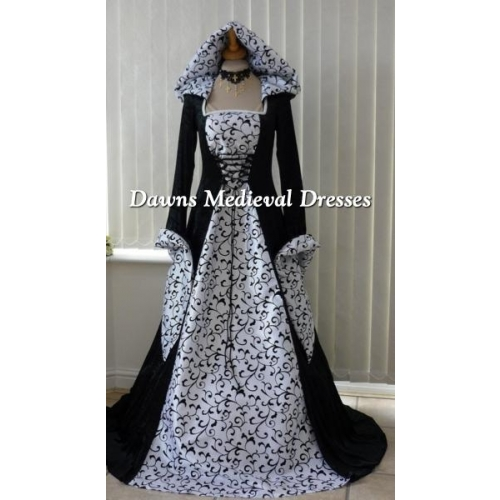 Black Medieval Hooded Dress with white taffeta small scroll