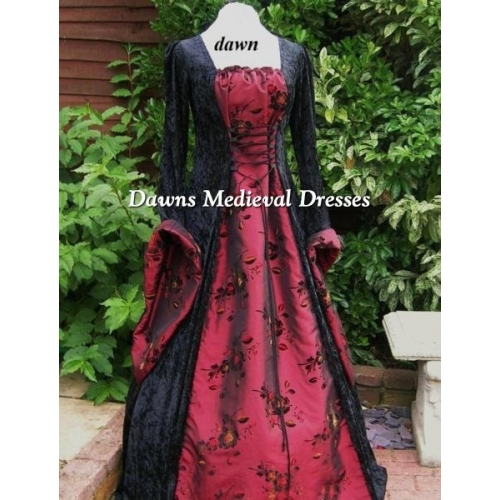 Whitby Gothic Medieval Black Velvet with Burgundy Taffeta Dress