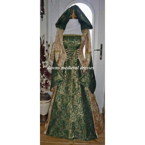 Medieval Pagan Velvet and Brocade Hooded Dress