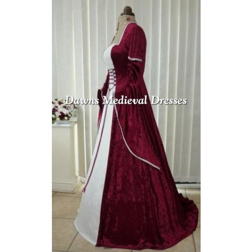 Renaissance Medieval 2017 Wedding Dresses A Line Burgundy: Renaissance Medieval Burgundy & White Wedding Dress, Dawns