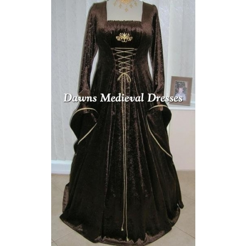 Medieval Pagan Brown and Gold Velvet Dress