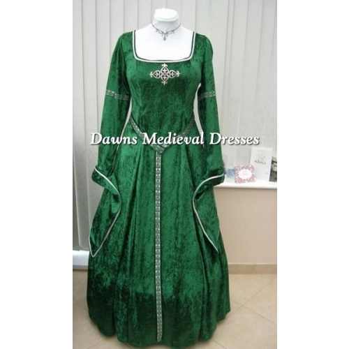 Lotr Medieval Pagan Handfasting Dress Costume Green & Silver