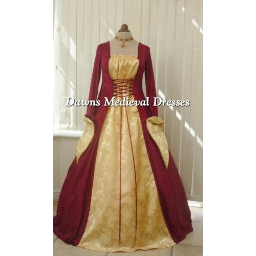 Medieval Gothic Burgundy and Gold Brocade Dress