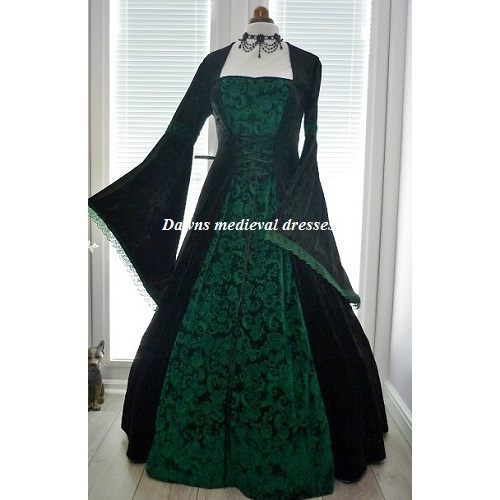 Medieval Gothic Pagan Dress Black and Green