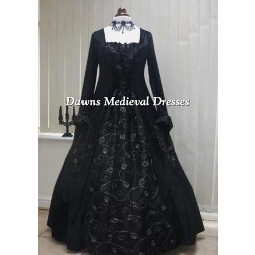 Medieval Gothic black and silver leaf taffeta dress