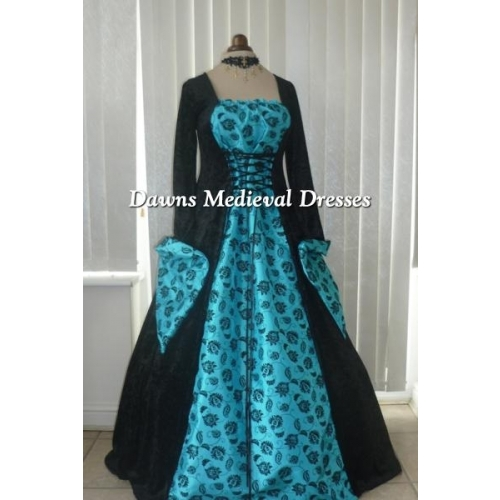 Medieval Gothic black and turquoise blue dress