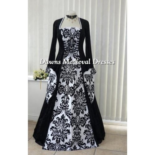 Medieval Gothic Black and White Bold Wedding Dress