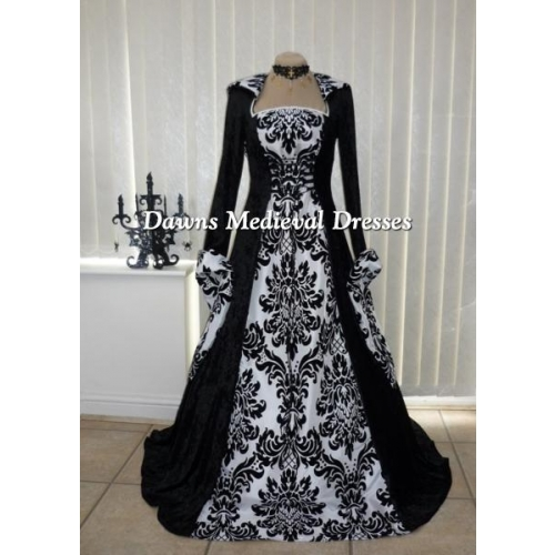 Medieval Black And White Gothic Wedding Ball Gown: Medieval Handfasting Gothic Hooded Dress Black & White