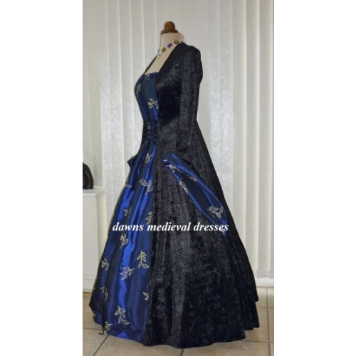 Medieval Goth Pagan Black & Blue Wedding Dress Costume Ball Gown ...