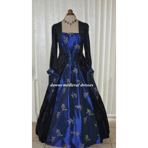 Medieval Goth Pagan Black & Blue Wedding Dress Costume Ball Gown