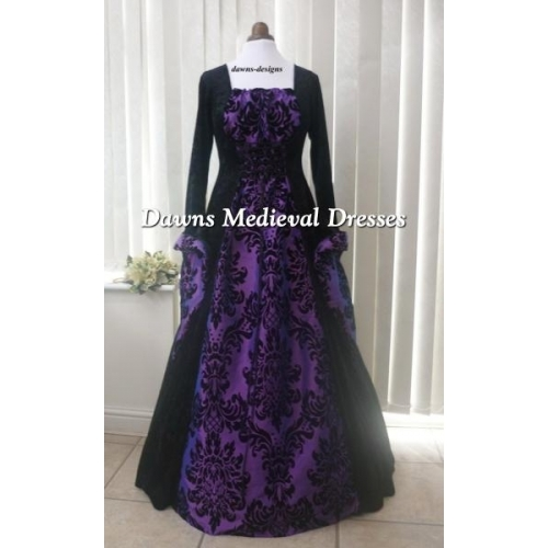 medieval gothic black and bold purple dress medieval