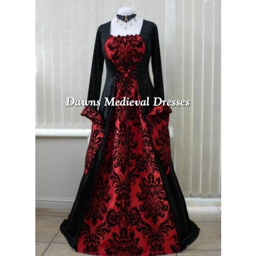 Medieval Gothic black and bold red dress