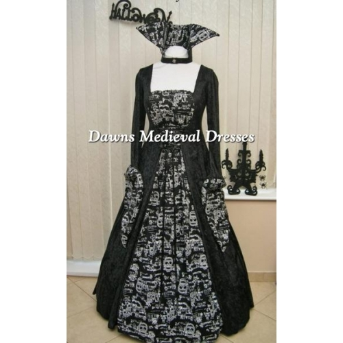 Medieval Black And White Gothic Wedding Ball Gown: HALLOWEEN BRIDE OF DRACULA SKULL BALL GOWN BLACK AND WHITE
