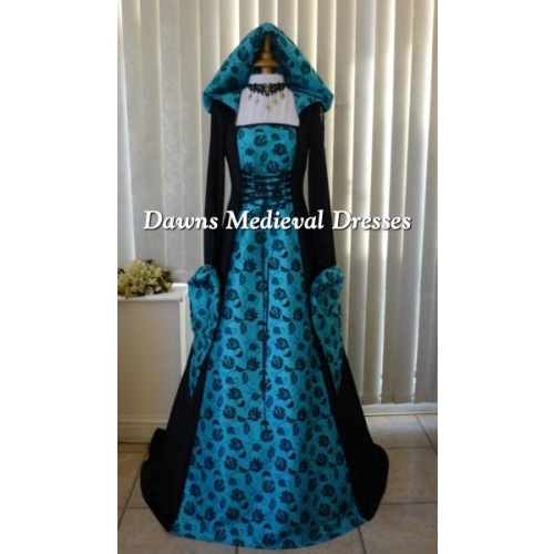 Medieval Gothic Renaissance Wedding Dress Black & Turquiose
