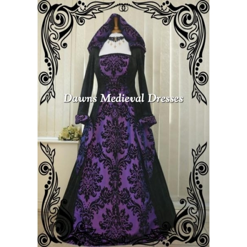 Renaissance Goth Handfasting Wedding Dress black & Purple Hood