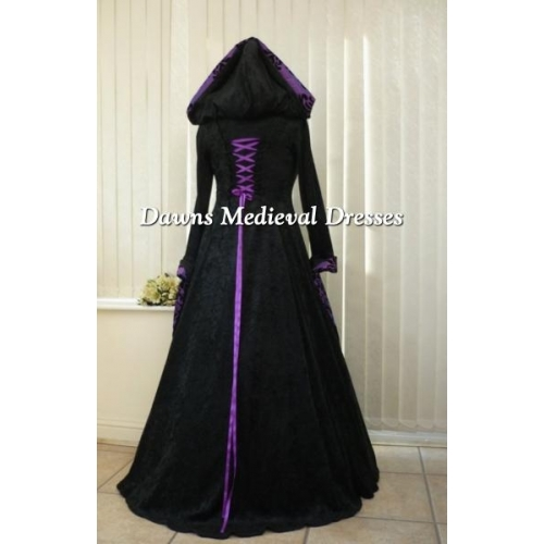 Vintage Purple Gothic Ball Gown Wedding Dresses With Cloak: Renaissance Goth Handfasting Wedding Dress Black & Purple