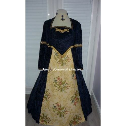 Tudor Medieval Renaissance Dress Costume  Navy Blue RM 24-26