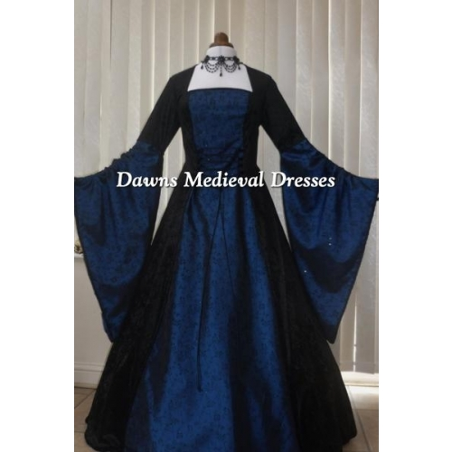 Renaissance  Medieval Black And Blue Taffeta Dress