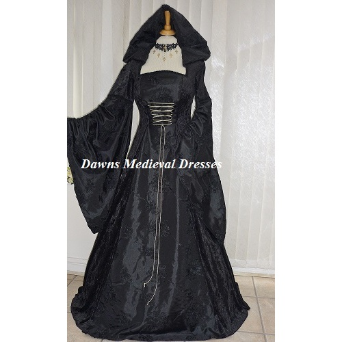 Gothic Wiccan Witch Medieval Hooded Dress