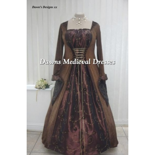 Medieval Goth Pagan Brown Velvet And Taffeta Dress