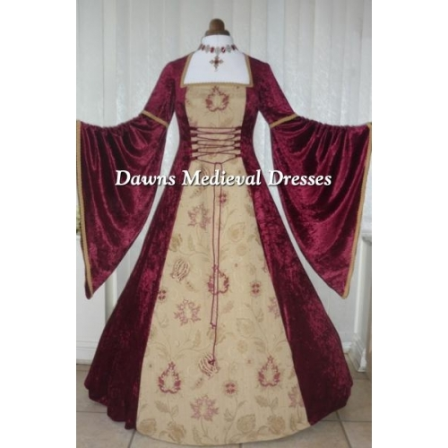 Renaissance Medieval Burgundy & Gold Tapestry Dress RM 14-16