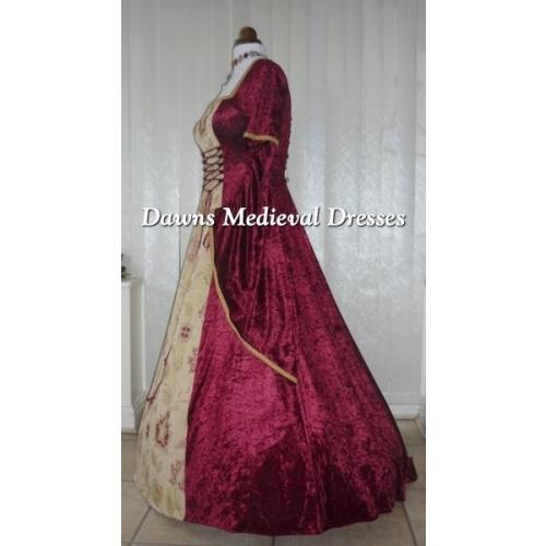 Renaissance Medieval 2017 Wedding Dresses A Line Burgundy: Renaissance Medieval Burgundy Velvet Dress, Medieval
