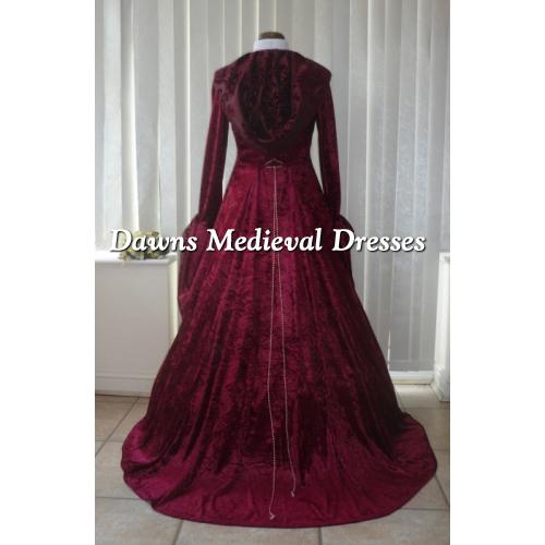 Renaissance Medieval 2017 Wedding Dresses A Line Burgundy: Medieval Gothic Handfasting Hooded Wedding Dress Burgundy