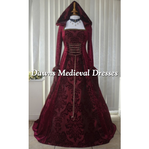 Medieval Gothic Handfasting Hooded Wedding Dress Burgundy