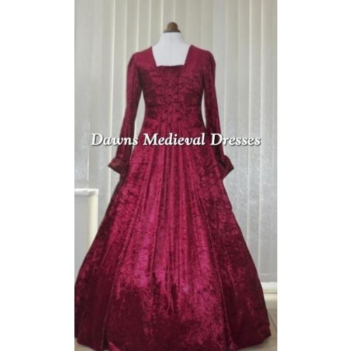 Renaissance Medieval 2017 Wedding Dresses A Line Burgundy: Gothic Medieval Dress Burgundy Velvet And Burgundy Taffeta