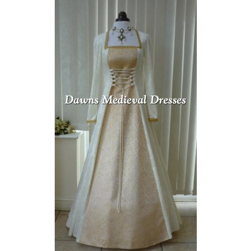 Medieval Pagan Cream Gold Brocade Wedding Dress