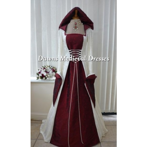 Medieval Pagan Wedding Hooded Dress Cream & Burgundy