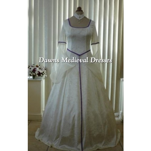 Pagan Medieval Cream Handfasting Wedding Dress
