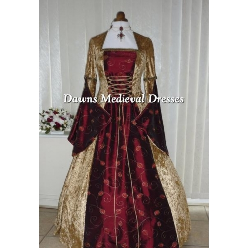 Medieval Pagan Open Sleeve Gold And Burgundy Wedding  Dress