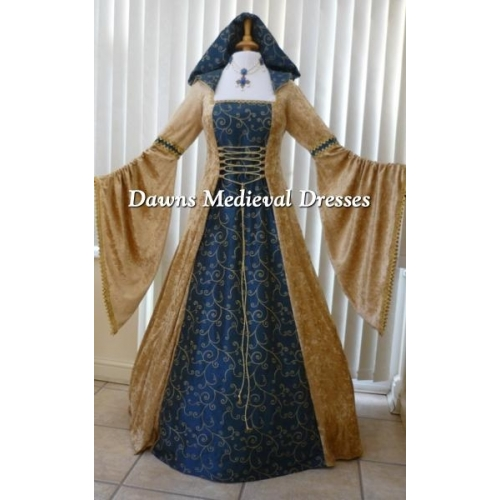 Pagan Handfasting Dress Medieval Wedding Gown Gold & Blue