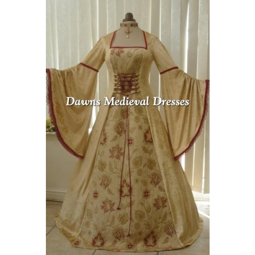 Renaissance Gold Velvet and Tapestry Dress