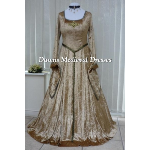 Lotr Medieval Pagan Wedding Handfasting Dress Gold & Black