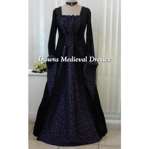 Whitby Goth Black and Purple Scroll Dress