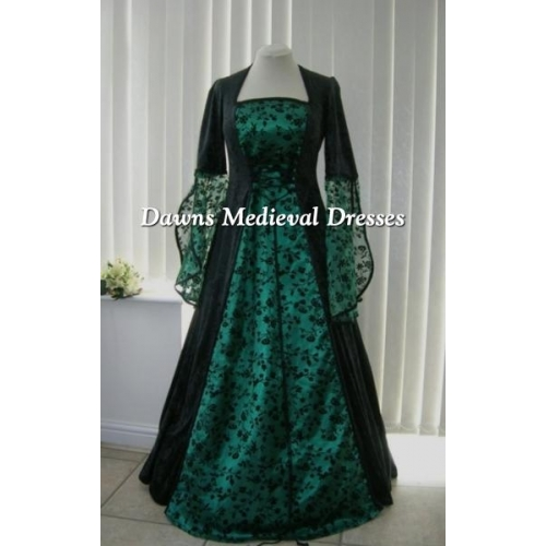 MEDIEVAL GOTH OPEN SLEEVE BLACK AND GREEN  DRESS