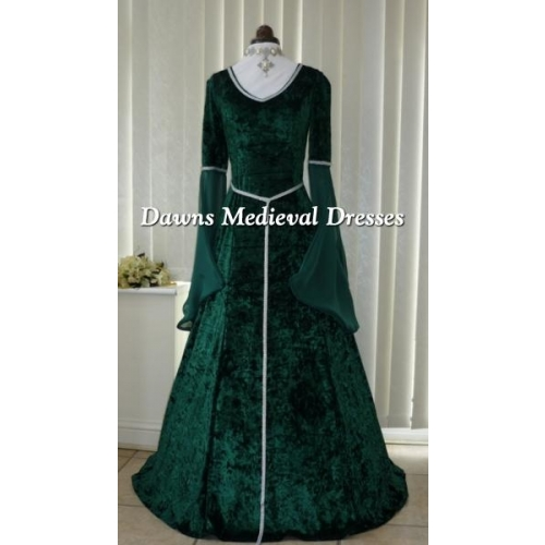 lotr Medieval Pagan V neck Green & Silver Dress