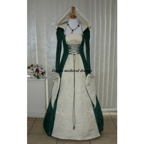Celtic Pagan Wedding Hood Dress Green & Cream