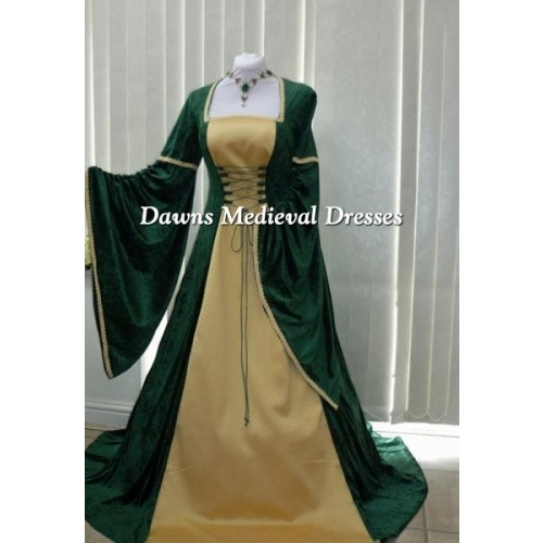 Renaissance Medieval Green And Gold Brocade Dress