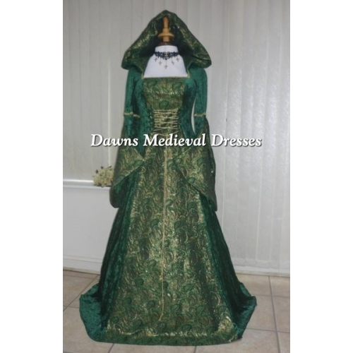 Celtic Medieval Pagan Hooded Handfasting Wedding Dress Green & G