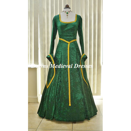 Lotr Maid Marion Princess Fiona Dress Green & Gold