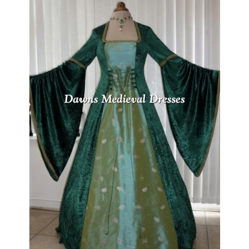 Renaissance Green Taffeta & Gold Wedding Dress