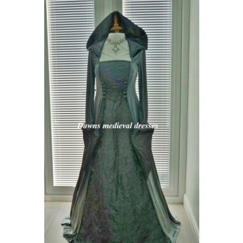 Medieval Pagan Slate Hooded Wedding Dress