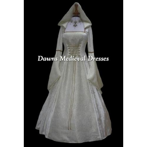 Cream Medieval Renaissance Hooded Wedding Dress Pagan Dawns Medieval Dresses