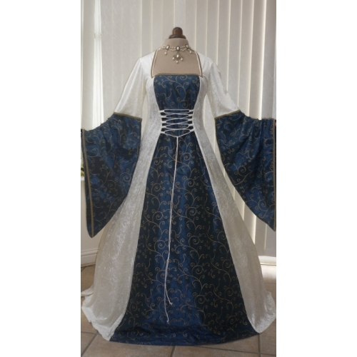 Medieval Renaissance Pagan Ivory and Blue  Wedding Dress