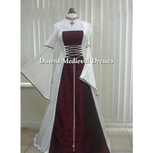 Medieval Pagan Cream and Wine  Velvet Wedding Dress